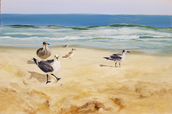 Beach Stroll Oil Painting