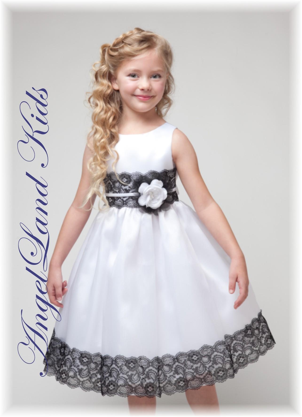 Girls white black lace dress 42 izmirmasajfo