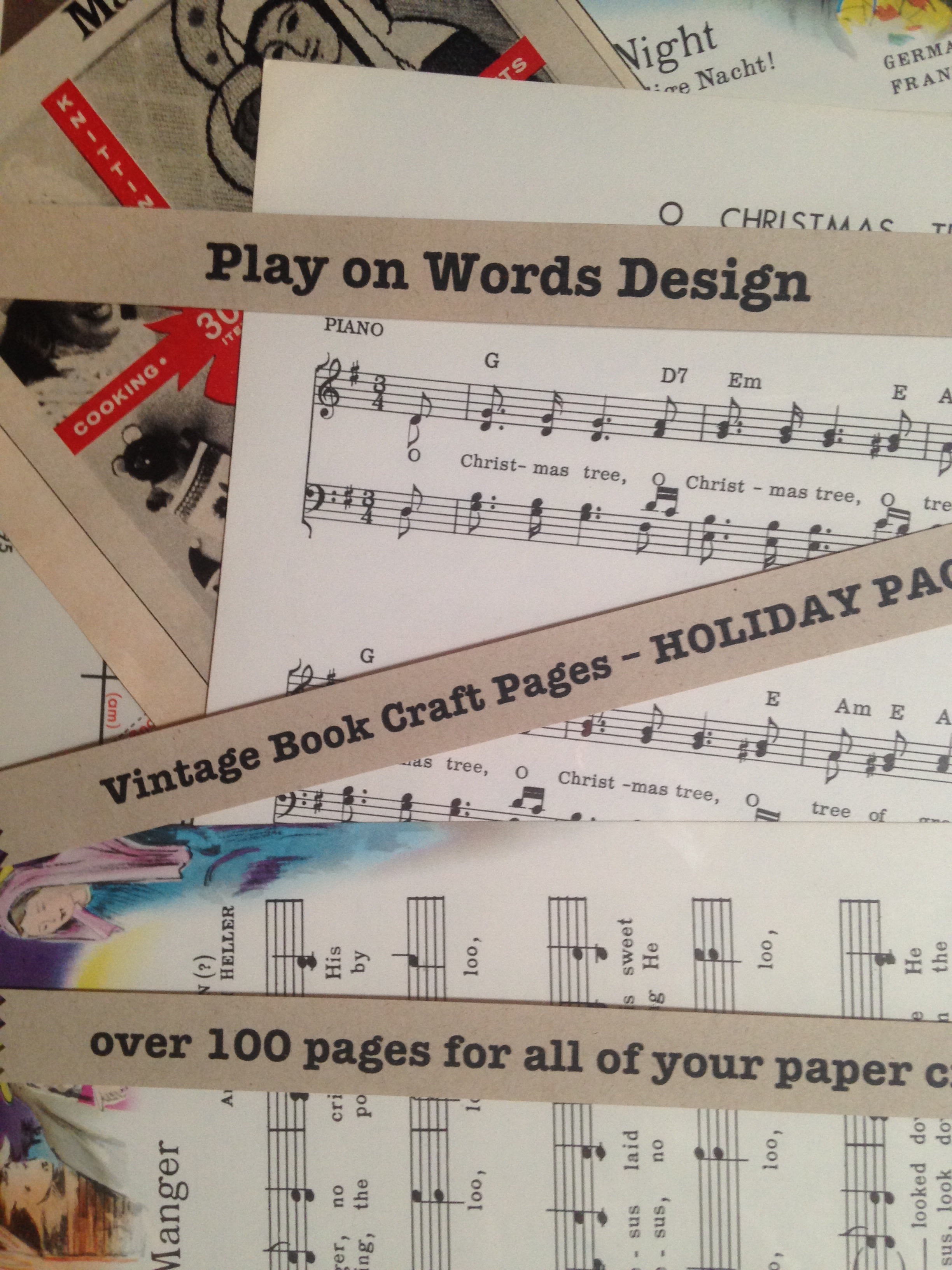 vintage book craft pages holiday pack