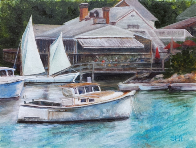 Perkins Cove Trio Oil Painting
