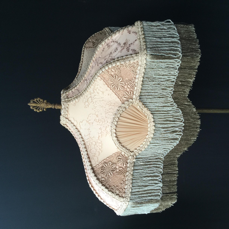 Silk Lampshade Amp Antique Lamp Combination