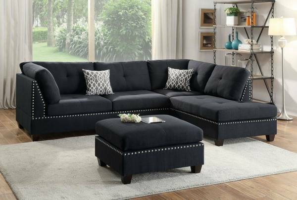 Groovy Kiana Black Fabric Sectional Or Expresso Bonded Leather Pdpeps Interior Chair Design Pdpepsorg