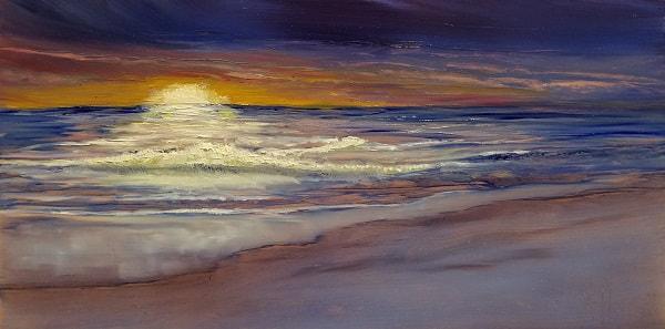 Sunrise Sea Oil Painting